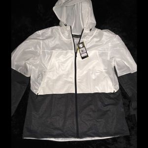 Under Armour White/Gray Windbreaker Hoodie sz XXL